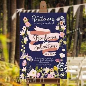 zaproszenia plakat powitalny boho - 50x70 cm - kwiaty i wstęga