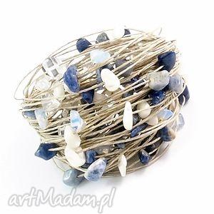 bransoleka lniana - jeanse, bransoletka, opal, masa, perłowa, sodalit, len