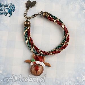 świąteczna bransoletka renifer rudolf czerwononosy, świąteczna