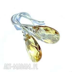 kolczyki migdałki z kryształkami swarovski golden shadow srebro 925, migdałki