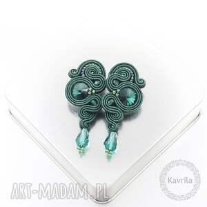 kolczyki soutache lady dark emerald, stylowe, modne, sutasz, biżuteria