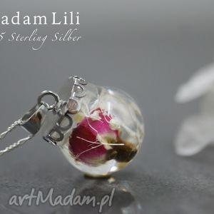 925 srebrny naszyjnik z pączkiem róży - róża, kwiaty, 925, srebro