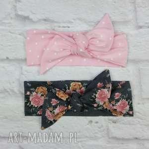 Opaski pin up, różowa kropki, grafit róże, opaska, pinup, bawełna, wiosna, lato