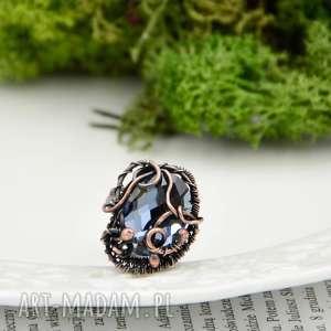 Prezent Gray crystal - naszyjnik ze szklanym kryształem, pierścionek-duży