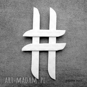 handmade broszki hasztag # biała, wytłaczana przypinka