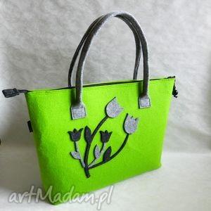 918402718b9a0 ... duża zielona filcowa torba z kwiatkami