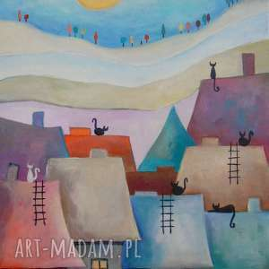 Obraz na płótnie - WESOŁE MIASTECZKO KOTÓW II 30/40 cm, abstrakcja, niebieski, akryl