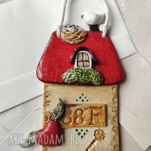 domek z numerem dwuczłonowym, ceramika, dom, klucz, numer domu, ptaszki