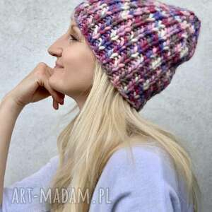Kolorowa czapka czapki the wool art czapka, wełniana, nadrutach,