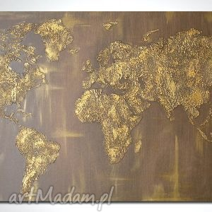 obraz 152x84 - MAPA ŚWIATA 3D 10 ręcznie malowana, mapa, złota,