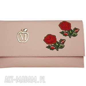 Kopertówka Koperta MANZANA pudrowy róż kwiaty, kopertówka, hafty, torebka
