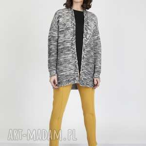 handmade swetry melanżowy kardigan, swe102 szary/czarny