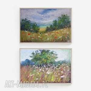 pejzaż-dwie prace wykonane pastelami suchymi, pastele, pejzaż