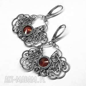 kolczyki swarovski- red magma, kolczyki, srebro, hajcz, handmade, czerwony,