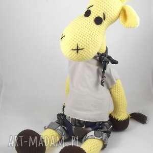 Duża szydełkowa żyrafa, personalizacja zabawki wernika maskotka