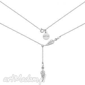 srebrny regulowany naszyjnik z piórkami - srebrne naszyjniki, minimalistyczny