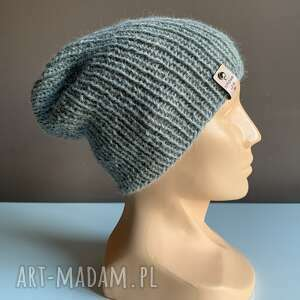 ręcznie robiona czapka hand made ściągacz 100 alpaka jasny szary