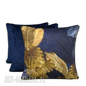 ręcznie wykonane poduszki komplet 3 poduszek liście granat 45x45cm