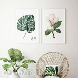 zestaw 2 plakatów kwiaty a4, kwiaty, magnolia, monstera, rośliny, obraz