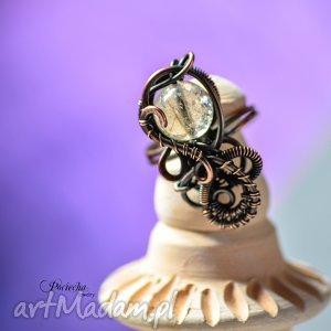Threads - pierścionek z kwarcem rutylem, pierścionek, miedź, kwarc, rutyl