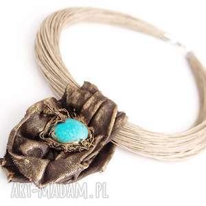 Kobiecy artystyczny naszyjnik lniany, naszyjnik-lniany, biżuteria-lniana, wisior,