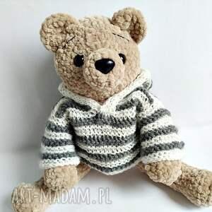 Pluszowy pan miś w sweterku w paski z kapturem - HandMade