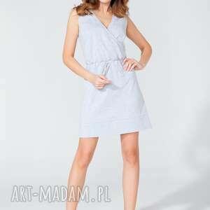 sukienki sukienka sportowa z kopertowym dekoltem t112 kolor jasnoszary - tessita