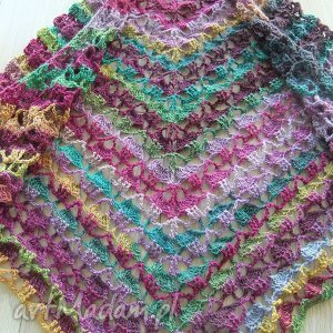 Szydełkowa chusta szal , chusta, szal, szydełkowa, wełniana, kolorowa, trójkątna