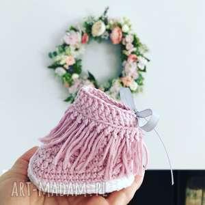 botki z frędzlami różowe niechodki, buty, frędzle, botki, chwosty