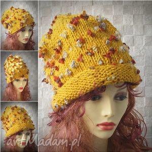 czapka ręcznie robiona złota musztarda oversized, czapka, gruba, slouchy