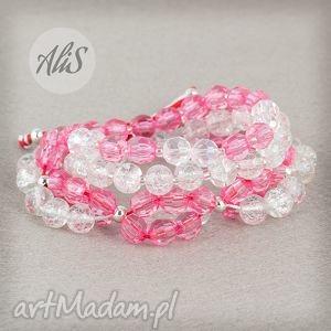 hand-made bransoletki różowe szkło
