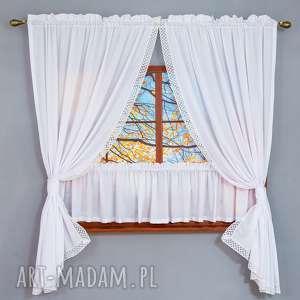 komplet okienny home, firana, zasłona, zazdrostka, bawełna, koronka dekoracje