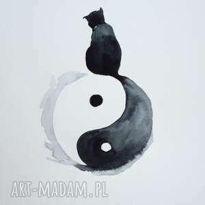 koci ogon akwarela artystki adriany laube - chiński symbol równowagi yin i yang