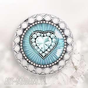 BROSZKA Z SERCEM - ,broszka,serce,serduszko,diamentowe,stylowa,ażurowa,