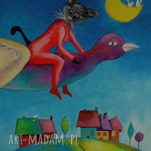 obraz na płótnie - pani kotka abstrakcja 50/40 cm, kot, bajka, domki, miasteczko