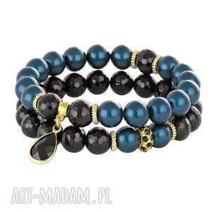 pearly chic - ocean blues black 2, perły, swarovski, onyks, zawieszka biżuteria