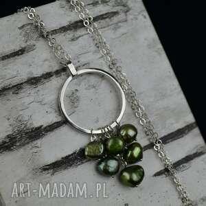 delikatny długi zielony naszyjnik z perłami srebro (długi naszyjnik, perły)