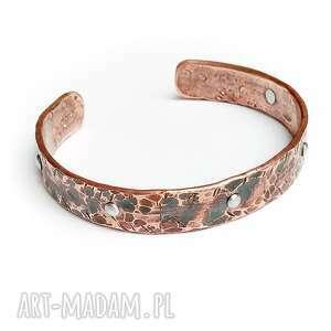 handmade bransoleta z miedzi, aluminiowe nity