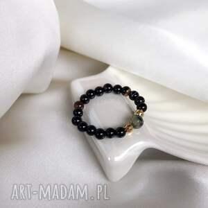 pierścionek - agat, kamienie naturalne, elastyczny