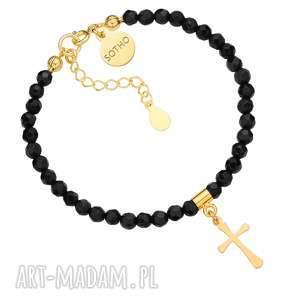 czarna bransoletka z fasetowanego onyksu ze złotym, krzyż, blogerska
