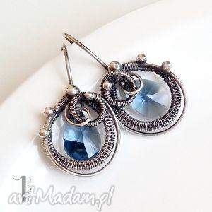 denim blue - kolczyki z kryształami swarovski - ażurowe, eleganckie