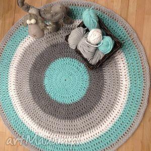 Ręcznie robiony okrągły dywan ze sznurka bawełnianego połączenie mięty,szarości