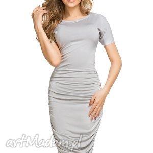 sukienki sukienka ołówkowa z marszczeniami na bokach t159, jasnoszary