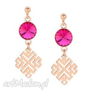 kolczyki z różowego złota z kryształami swarovski® crystal