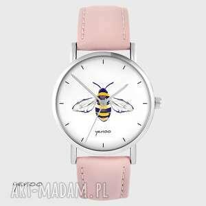 Zegarek - pszczoła skórzany, pudrowy róż zegarki yenoo zegarek