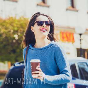 ręcznie robione swetry luźny, niebieski sweter