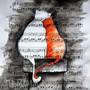 Akwarela NA KOMINIE artystki plastyka Adriany Laube, akwarela, koty, zakochane, noc