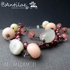 satulo - jadeit, kamień księżycowy, perły - bransoletka, srebro, jadeit