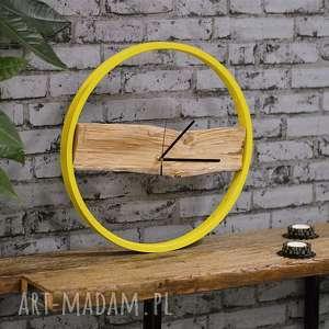 Prezent Zegar Wood Yellow, nowoczesny, rowerzysta, prezent, loft, recycling, drewiany