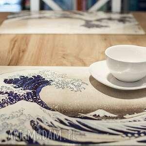 4 duże korkowe podkładki na stół - wielka fala, hokusai, korek, hokusai